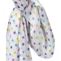 Muslinfilt | barnvagnsdraperi stjärnor rosa | gul | lila | turkos