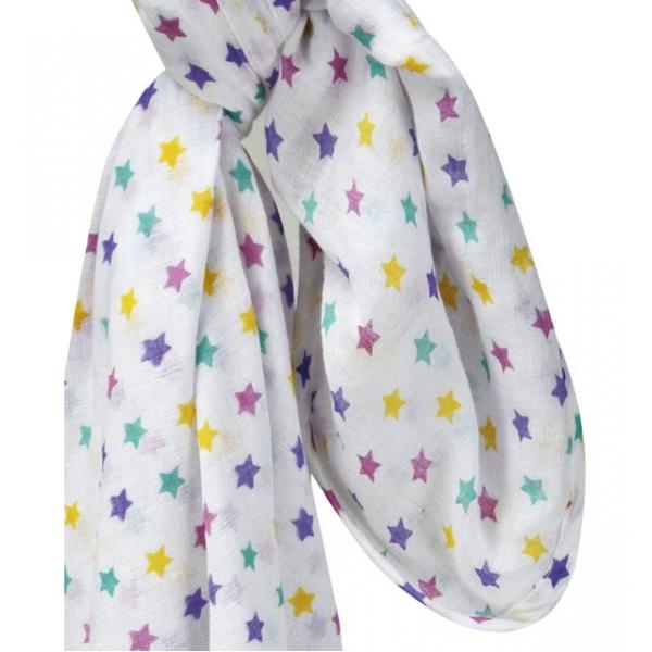 Muslinfilt   barnvagnsdraperi stjärnor rosa   gul   lila   turkos