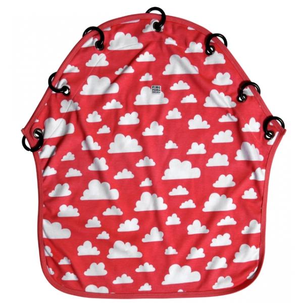 Barnvagnsdraperi moln röd Färg & Form