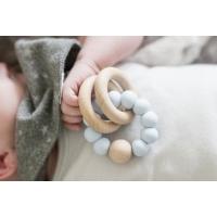 Bitring by Baby Bubbles Blå/Trä med 3 Ringar