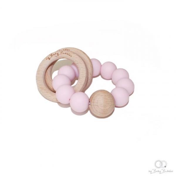 Bitring by Baby Bubbles Rosa/Trä med 3 Ringar