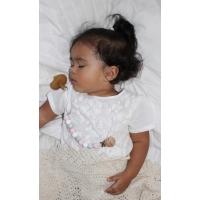 Napphållare by Baby Bubbles med rosa, vita och gråmärlade silikonkuler