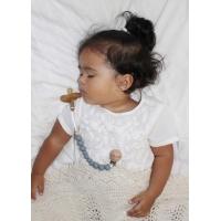 Napphållare by Baby Bubbles med mörkgråa silikonkuler och en träkula