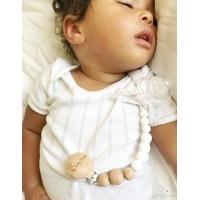Napphållare by Baby Bubbles med vita silikonkulor och 3 träkulor